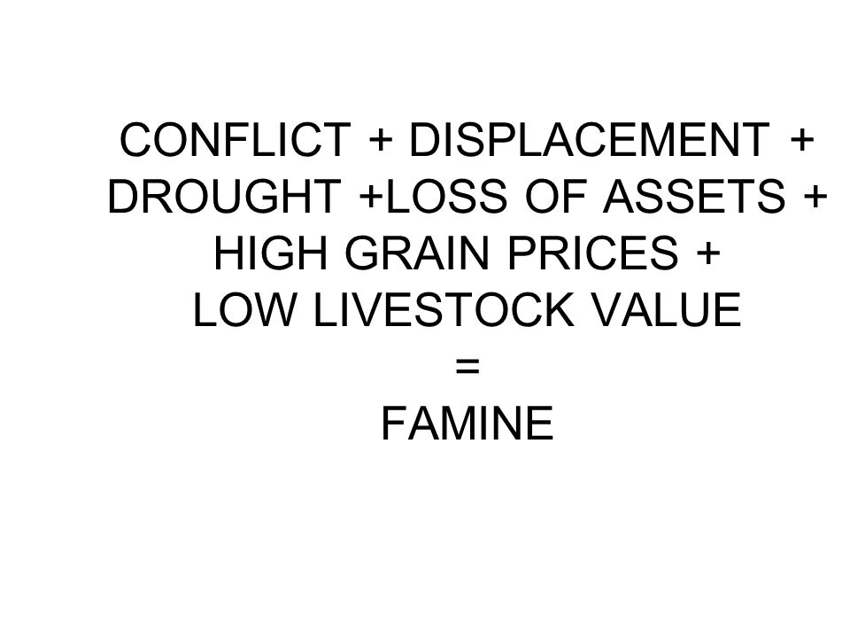 CONFLICT + DISPLACEMENT + DROUGHT +LOSS OF ASSETS + HIGH GRAIN PRICES + LOW LIVESTOCK VALUE = FAMINE
