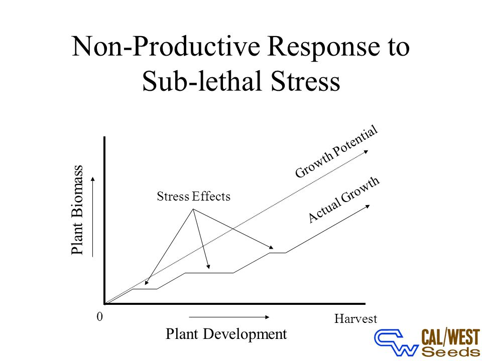 Non-Productive Response to Sub-lethal Stress Plant Development 0 Harvest Plant Biomass Growth Potential Stress Effects Actual Growth