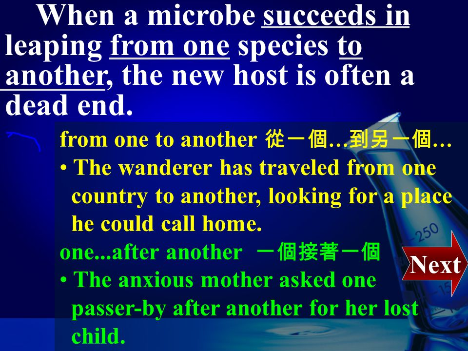 When a microbe succeeds in leaping from one species to another, the new host is often a dead end. succeed in + V-ing 成功地 … The blind man, despite all