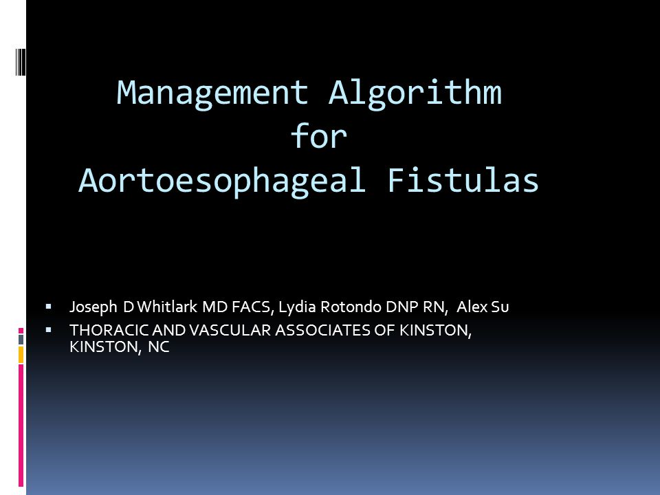 Management Algorithm for Aortoesophageal Fistulas  Joseph D Whitlark MD FACS, Lydia Rotondo DNP RN, Alex Su  THORACIC AND VASCULAR ASSOCIATES OF KINSTON, KINSTON, NC