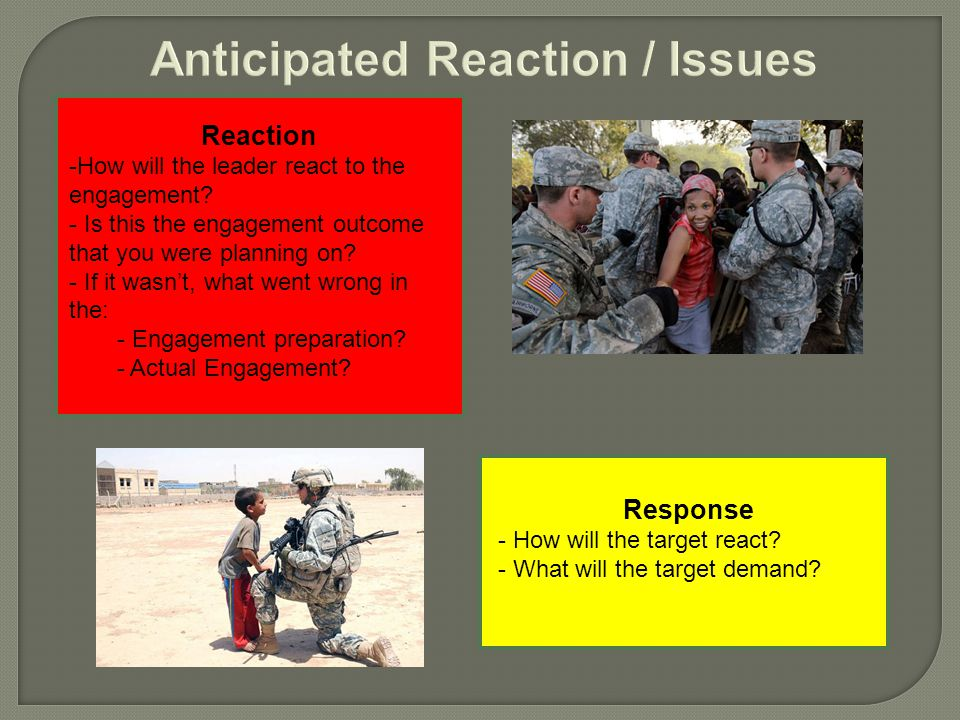 Reaction -How will the leader react to the engagement.