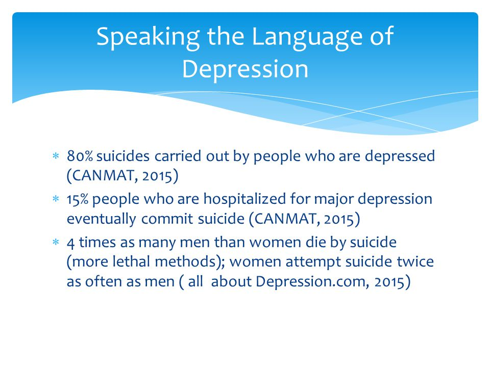  80% suicides carried out by people who are depressed (CANMAT, 2015)  15% people who are hospitalized for major depression eventually commit suicide