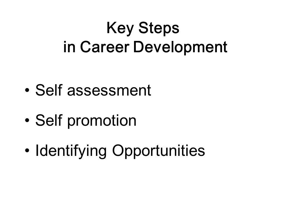 Key Steps in Career Development Self assessment Self promotion Identifying Opportunities