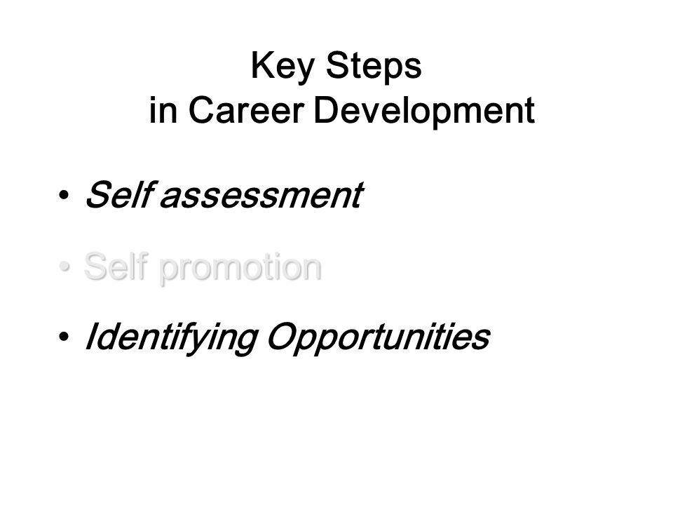 Key Steps in Career Development Self assessment Self promotionSelf promotion Identifying Opportunities