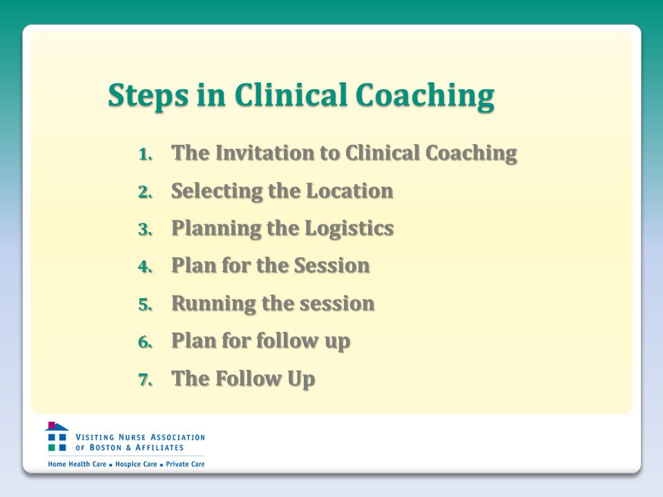 Steps in Clinical Coaching 1. The Invitation to Clinical Coaching 2.