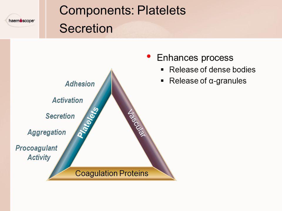 Components: Platelets Secretion Enhances process  Release of dense bodies  Release of α-granules Vascular Coagulation Proteins Platelets Adhesion Ac