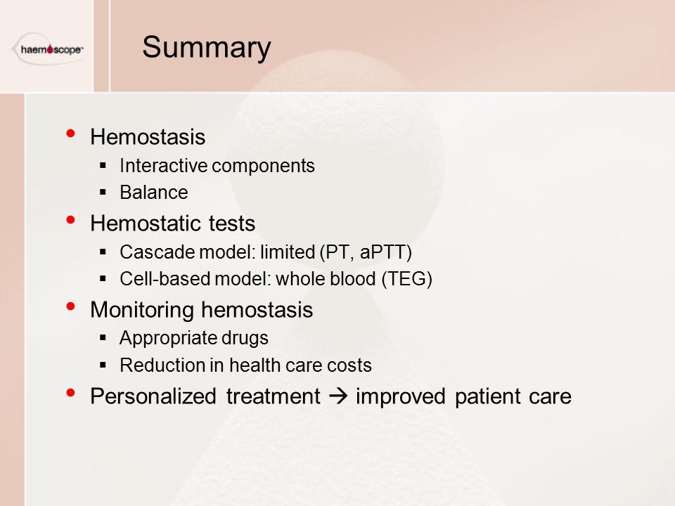Summary Hemostasis  Interactive components  Balance Hemostatic tests  Cascade model: limited (PT, aPTT)  Cell-based model: whole blood (TEG) Monit