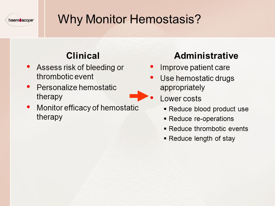 Administrative Improve patient care Use hemostatic drugs appropriately Lower costs  Reduce blood product use  Reduce re-operations  Reduce thrombot