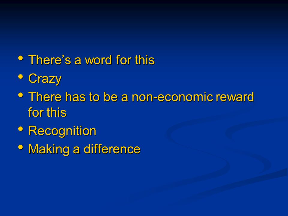 There's a word for this There's a word for this Crazy Crazy There has to be a non-economic reward for this There has to be a non-economic reward for t