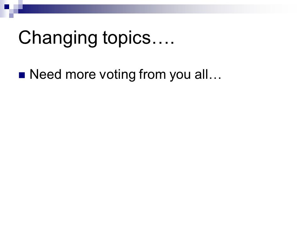 Changing topics…. Need more voting from you all…