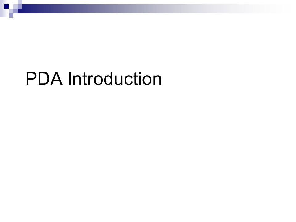 PDA Introduction
