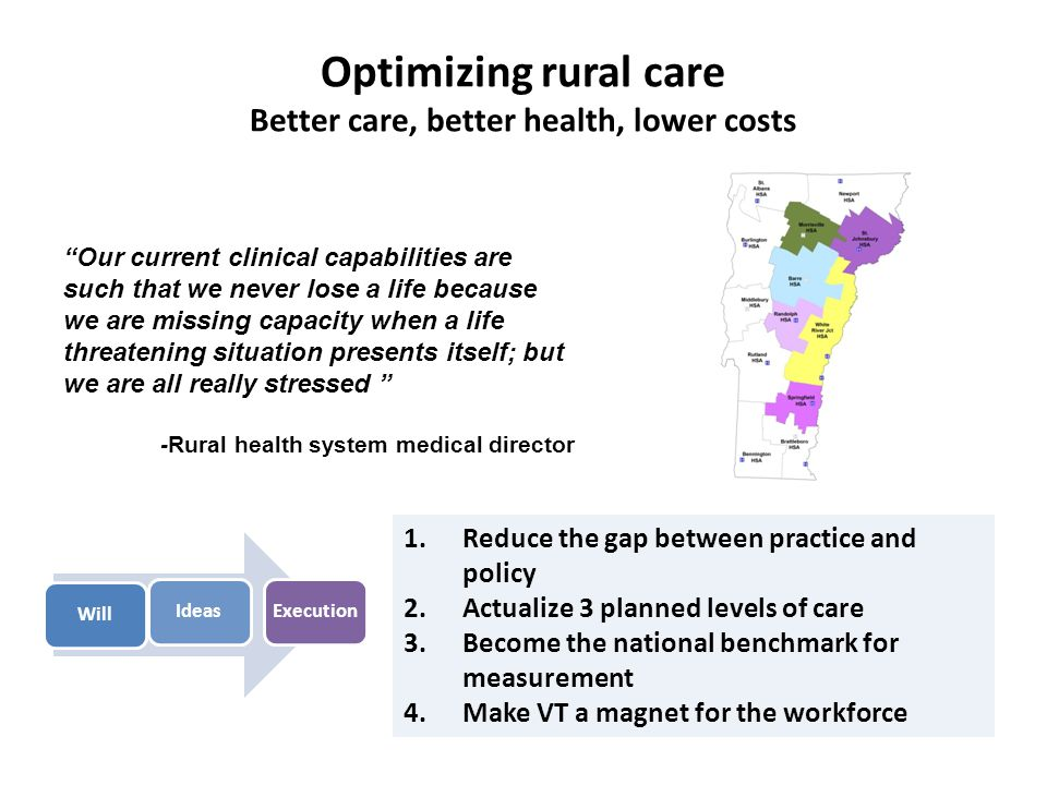Optimizing rural care Better care, better health, lower costs WillIdeasExecution 1.Reduce the gap between practice and policy 2.Actualize 3 planned levels of care 3.Become the national benchmark for measurement 4.Make VT a magnet for the workforce Our current clinical capabilities are such that we never lose a life because we are missing capacity when a life threatening situation presents itself; but we are all really stressed -Rural health system medical director