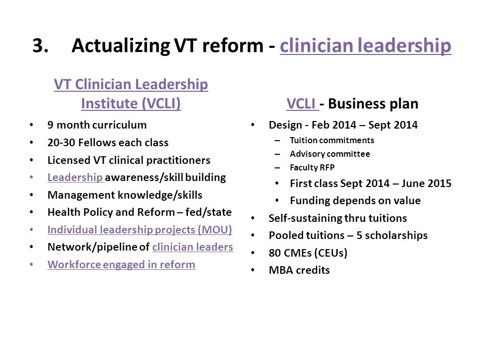 3.Actualizing VT reform - clinician leadership VT Clinician Leadership Institute (VCLI) 9 month curriculum 20-30 Fellows each class Licensed VT clinical practitioners Leadership awareness/skill building Management knowledge/skills Health Policy and Reform – fed/state Individual leadership projects (MOU) Network/pipeline of clinician leaders Workforce engaged in reform VCLI - Business plan Design - Feb 2014 – Sept 2014 – Tuition commitments – Advisory committee – Faculty RFP First class Sept 2014 – June 2015 Funding depends on value Self-sustaining thru tuitions Pooled tuitions – 5 scholarships 80 CMEs (CEUs) MBA credits