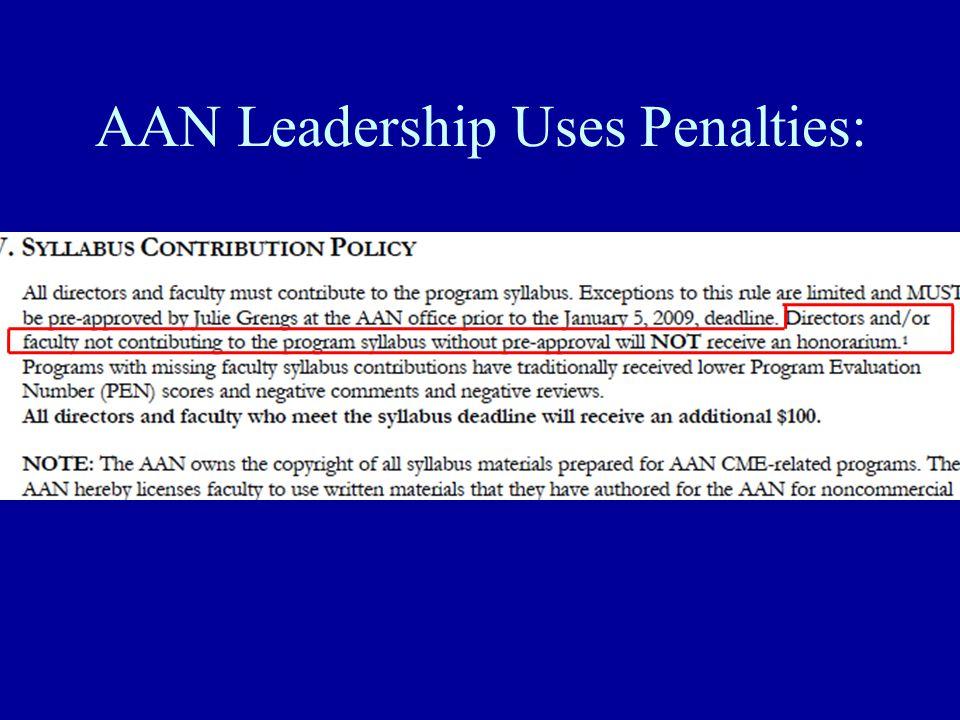 AAN Leadership Uses Penalties: