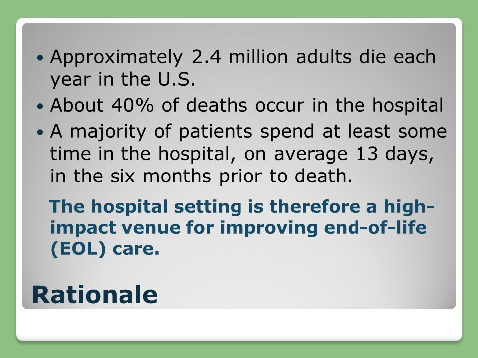 Rationale Approximately 2.4 million adults die each year in the U.S. About 40% of deaths occur in the hospital A majority of patients spend at least s