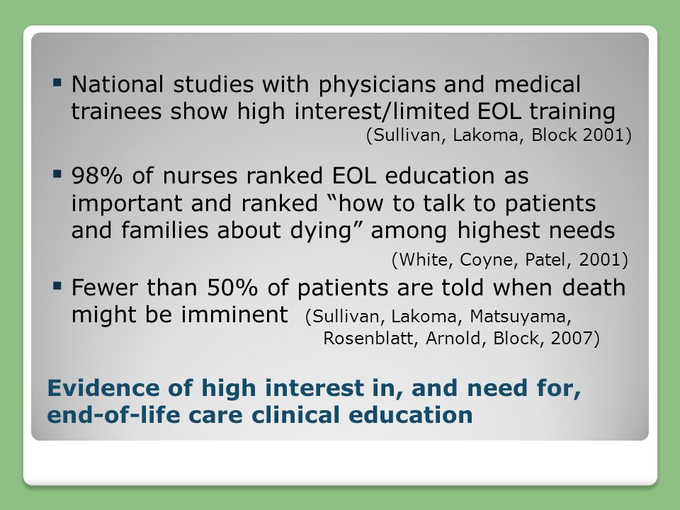  National studies with physicians and medical trainees show high interest/limited EOL training (Sullivan, Lakoma, Block 2001)  98% of nurses ranked EOL education as important and ranked how to talk to patients and families about dying among highest needs (White, Coyne, Patel, 2001)  Fewer than 50% of patients are told when death might be imminent (Sullivan, Lakoma, Matsuyama, Rosenblatt, Arnold, Block, 2007) Evidence of high interest in, and need for, end-of-life care clinical education