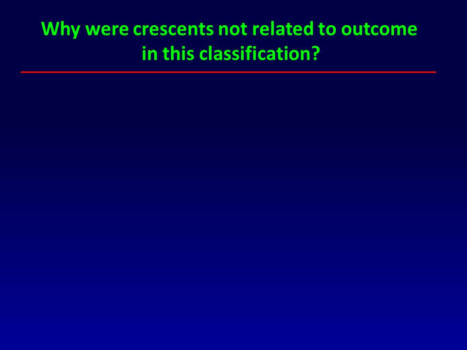 Why were crescents not related to outcome in this classification?
