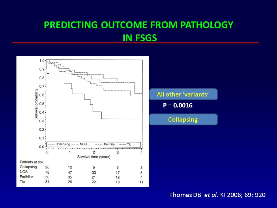 PREDICTING OUTCOME FROM PATHOLOGY IN FSGS Thomas DB et al. KI 2006; 69: 920 Collapsing All other 'variants' P = 0.0016