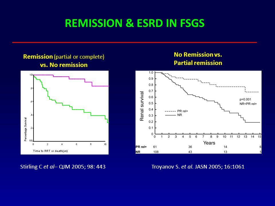 REMISSION & ESRD IN FSGS Troyanov S. et al. JASN 2005; 16:1061 Stirling C et al– QJM 2005; 98: 443 No Remission vs. Partial remission with a relapse R
