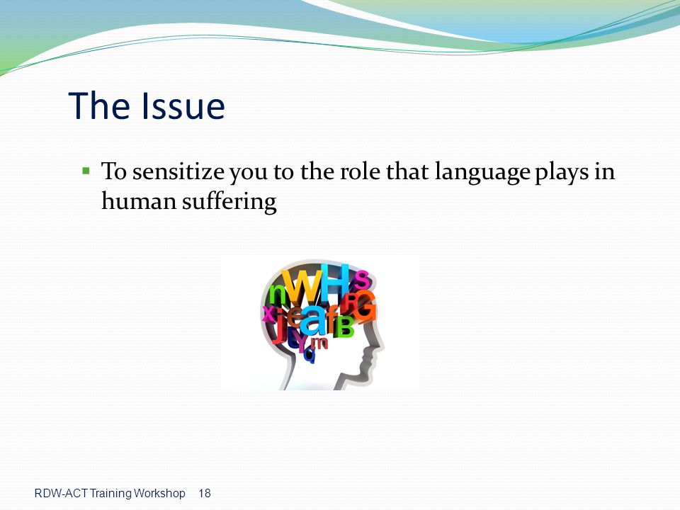 RDW-ACT Training Workshop 18 The Issue  To sensitize you to the role that language plays in human suffering
