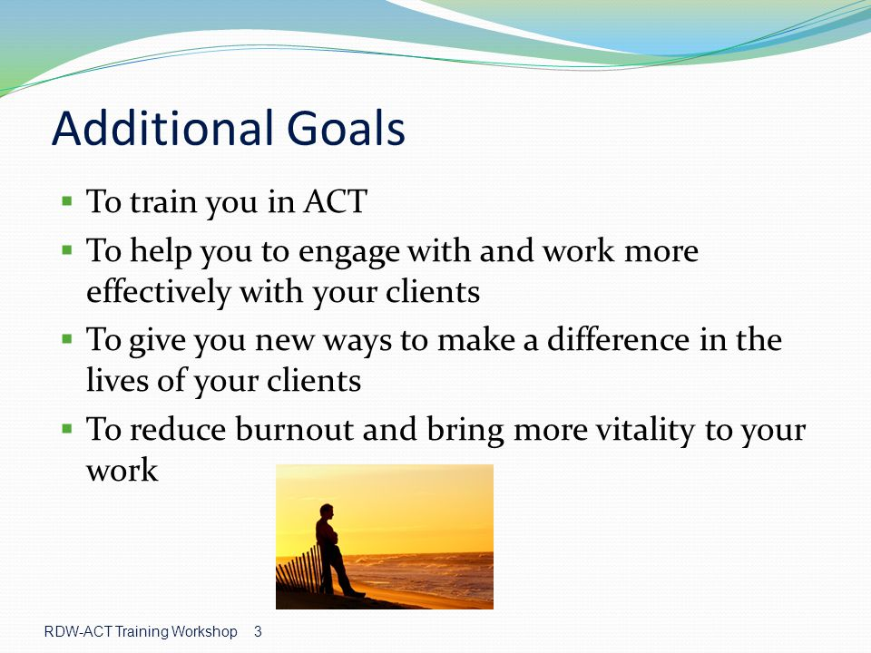 3 Additional Goals  To train you in ACT  To help you to engage with and work more effectively with your clients  To give you new ways to make a difference in the lives of your clients  To reduce burnout and bring more vitality to your work