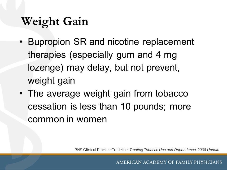 Weight Gain Bupropion SR and nicotine replacement therapies (especially gum and 4 mg lozenge) may delay, but not prevent, weight gain The average weight gain from tobacco cessation is less than 10 pounds; more common in women PHS Clinical Practice Guideline: Treating Tobacco Use and Dependence: 2008 Update