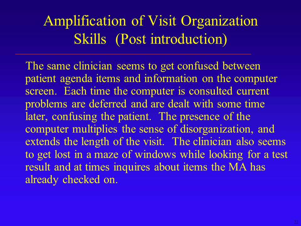 22 Amplification of Visit Organization Skills (Post introduction) The same clinician seems to get confused between patient agenda items and information on the computer screen.