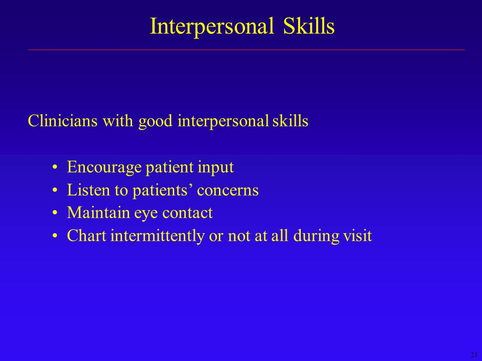 23 Interpersonal Skills Clinicians with good interpersonal skills Encourage patient input Listen to patients' concerns Maintain eye contact Chart intermittently or not at all during visit