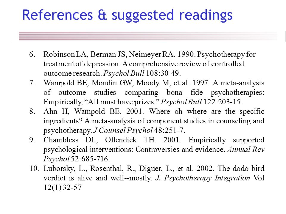 References & suggested readings 6.Robinson LA, Berman JS, Neimeyer RA.