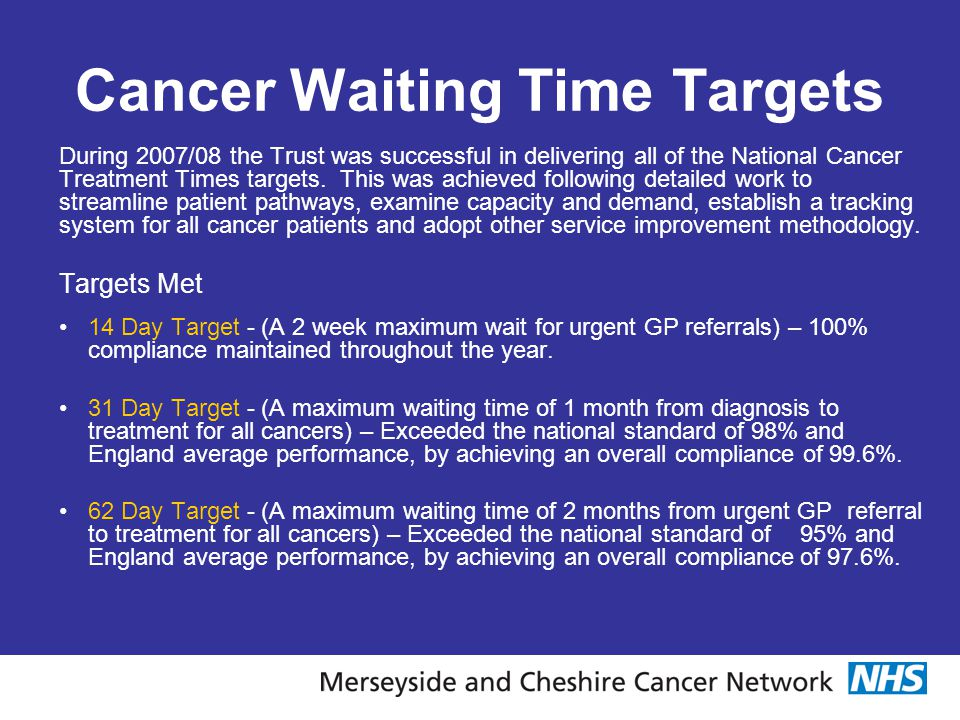 Cancer Waiting Time Targets During 2007/08 the Trust was successful in delivering all of the National Cancer Treatment Times targets. This was achieve