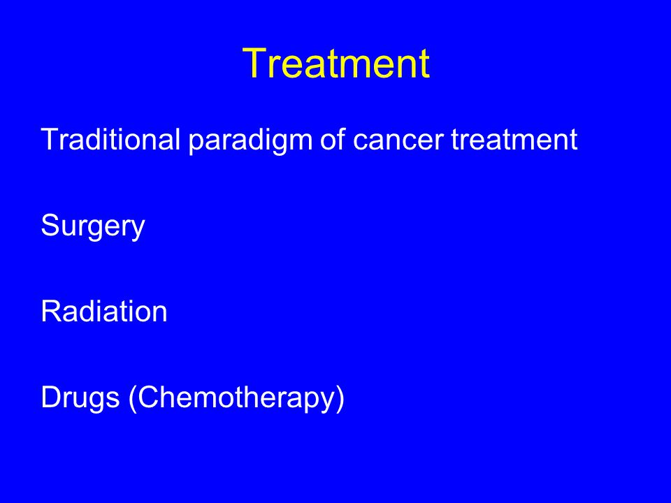 Treatment Traditional paradigm of cancer treatment Surgery Radiation Drugs (Chemotherapy)