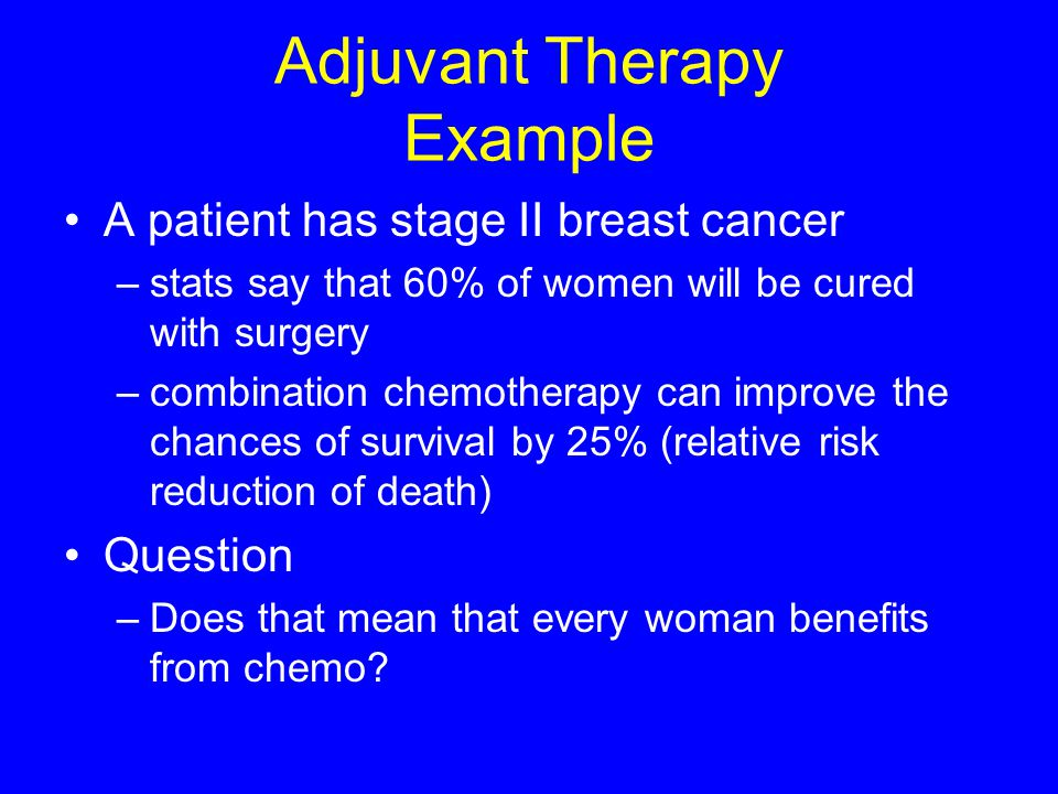 Adjuvant Therapy Example A patient has stage II breast cancer –stats say that 60% of women will be cured with surgery –combination chemotherapy can im