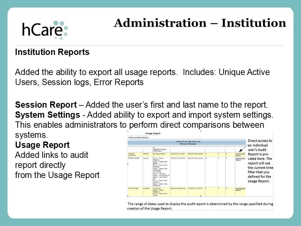 Institution Reports Added the ability to export all usage reports. Includes: Unique Active Users, Session logs, Error Reports Session Report – Added t