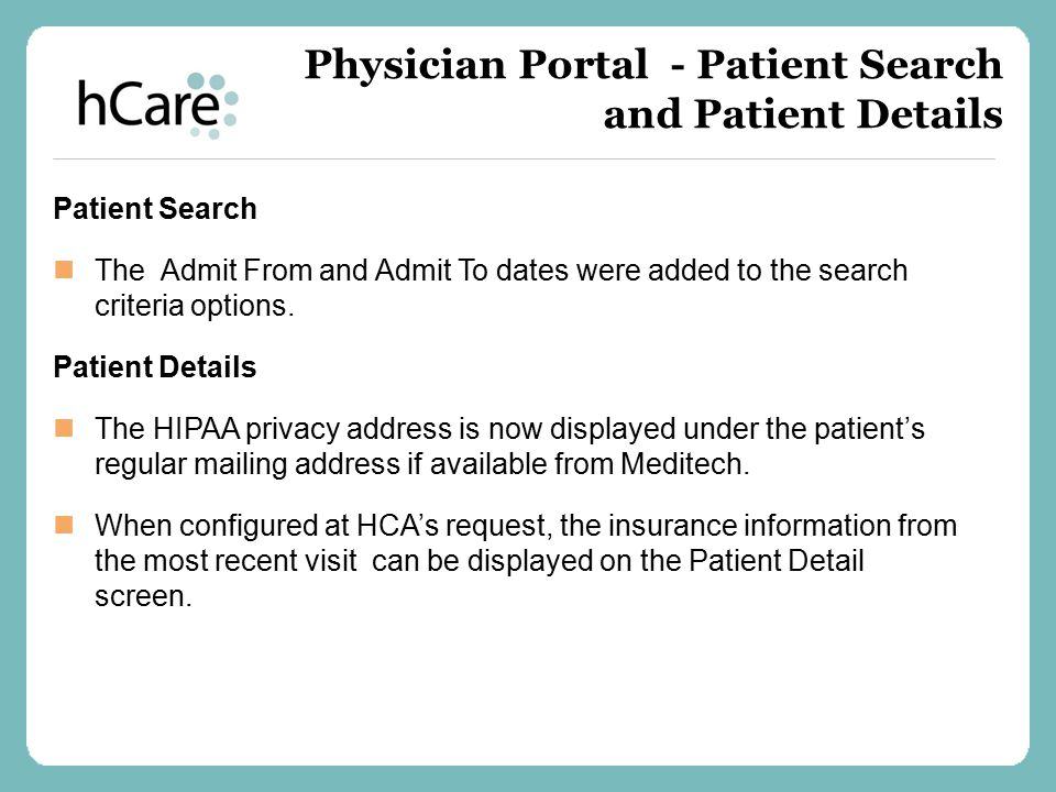 Physician Portal – Patient List Updates – Version 1 The Manage, Sort, and Print options are now located under the Actions drop- down.