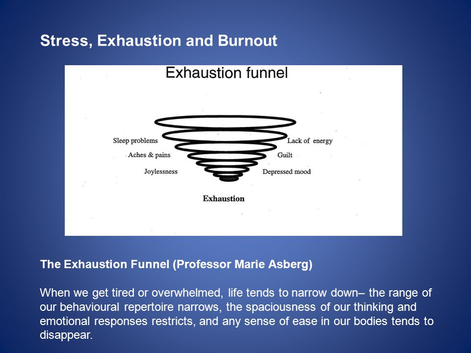 Stress, Exhaustion and Burnout The Exhaustion Funnel (Professor Marie Asberg) When we get tired or overwhelmed, life tends to narrow down– the range o