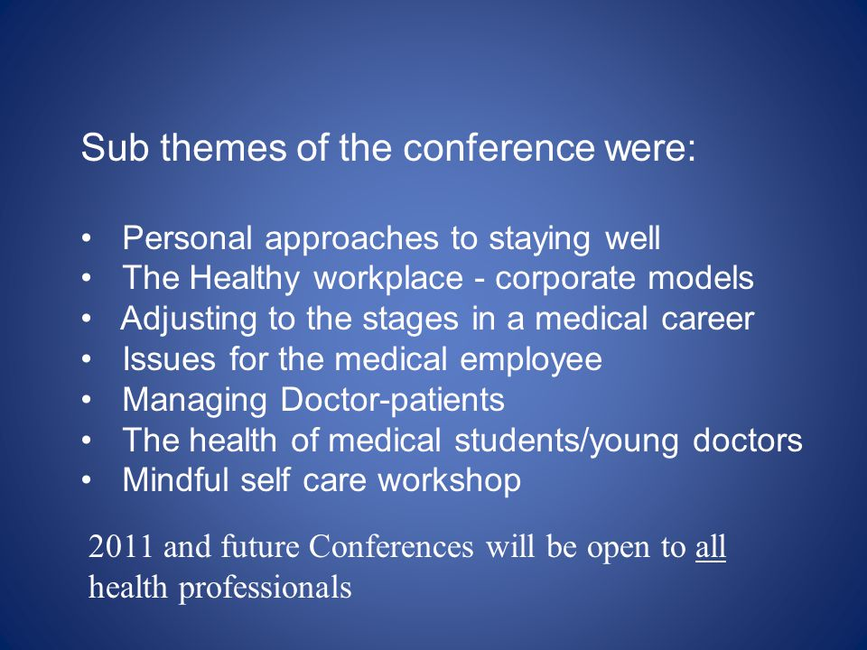 Sub themes of the conference were: Personal approaches to staying well The Healthy workplace - corporate models Adjusting to the stages in a medical c