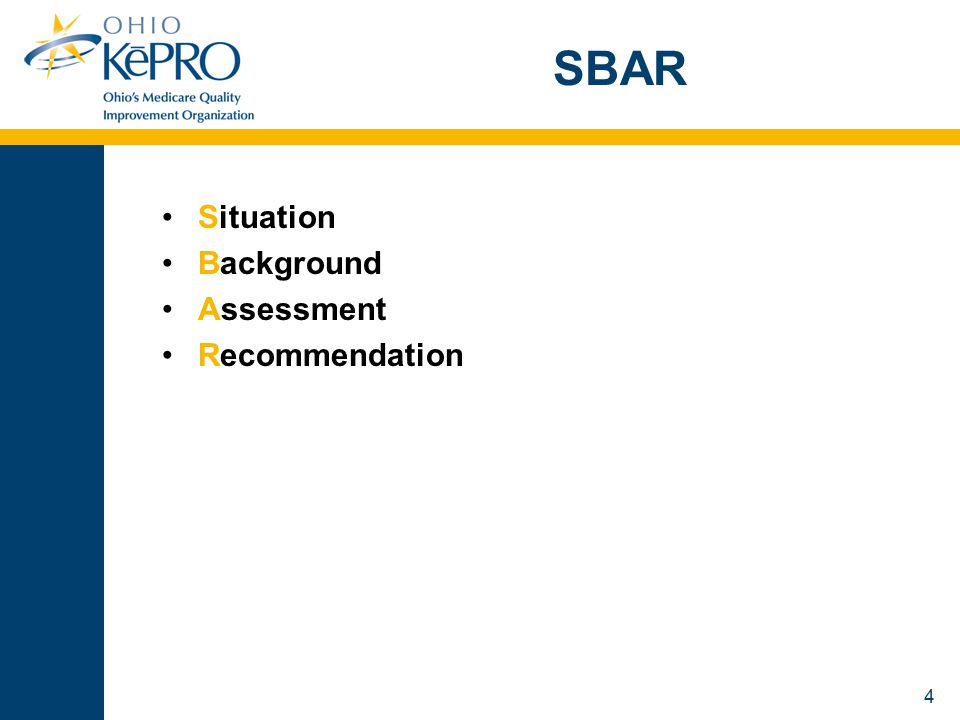 5 Background US Navy Nuclear Submarine Service  S = Situation  B = Background  A = Assessment  R = Resolution