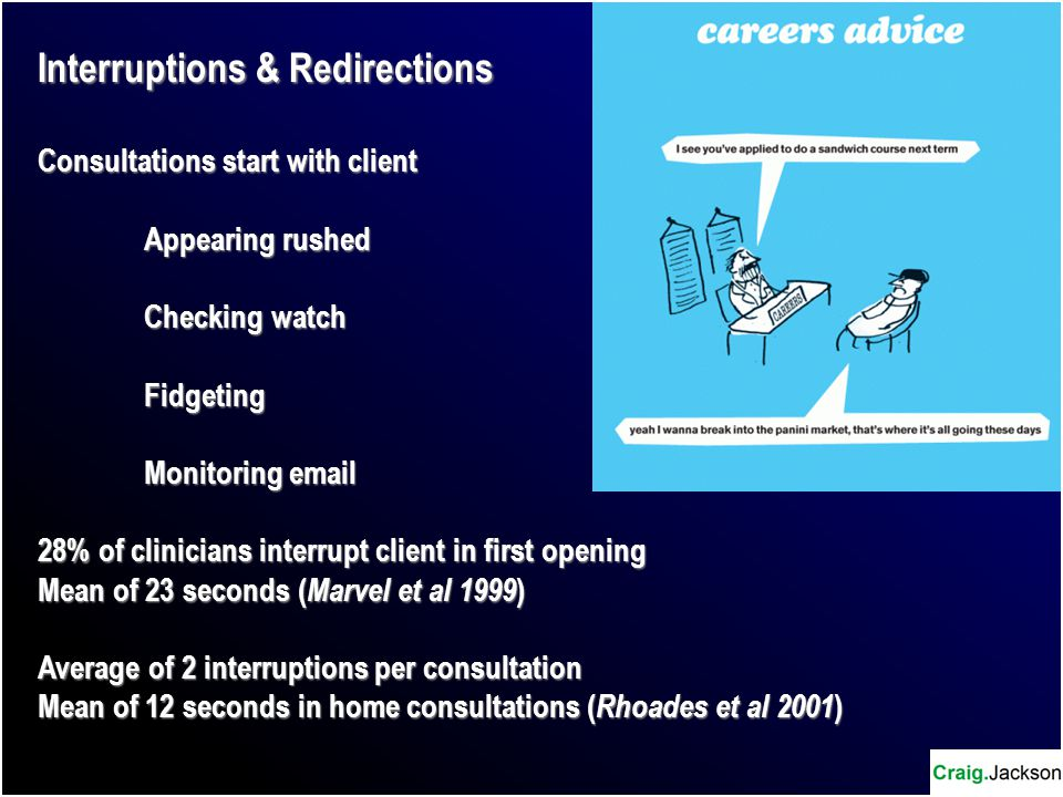Interruptions & Redirections Consultations start with client Appearing rushed Checking watch Fidgeting Monitoring email 28% of clinicians interrupt client in first opening Mean of 23 seconds ( Marvel et al 1999 ) Average of 2 interruptions per consultation Mean of 12 seconds in home consultations ( Rhoades et al 2001 )
