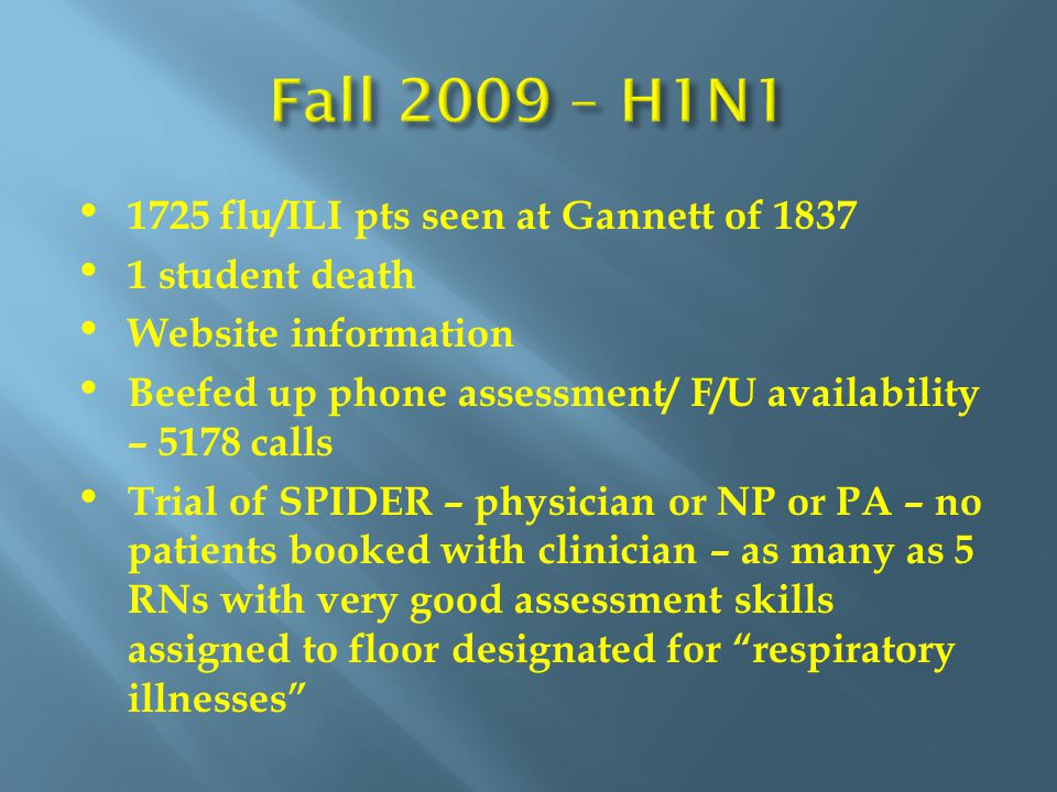 1725 flu/ILI pts seen at Gannett of 1837 1 student death Website information Beefed up phone assessment/ F/U availability – 5178 calls Trial of SPIDER – physician or NP or PA – no patients booked with clinician – as many as 5 RNs with very good assessment skills assigned to floor designated for respiratory illnesses
