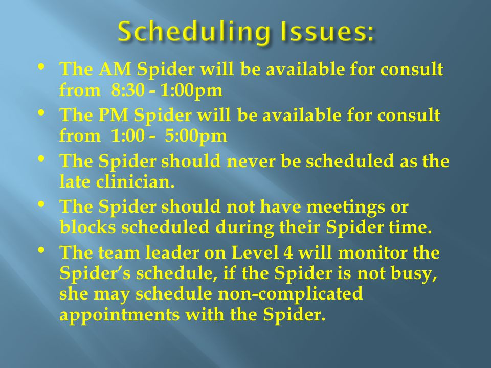 The AM Spider will be available for consult from 8:30 - 1:00pm The PM Spider will be available for consult from 1:00 - 5:00pm The Spider should never be scheduled as the late clinician.