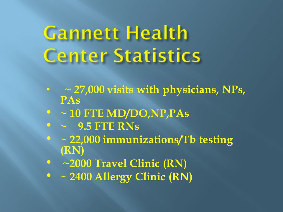 ~ 27,000 visits with physicians, NPs, PAs ~ 10 FTE MD/DO,NP,PAs ~ 9.5 FTE RNs ~ 22,000 immunizations/Tb testing (RN) ~2000 Travel Clinic (RN) ~ 2400 Allergy Clinic (RN)
