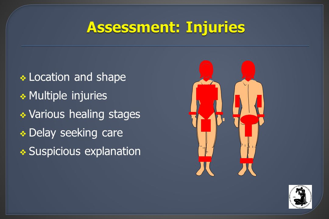  Location and shape  Multiple injuries  Various healing stages  Delay seeking care  Suspicious explanation