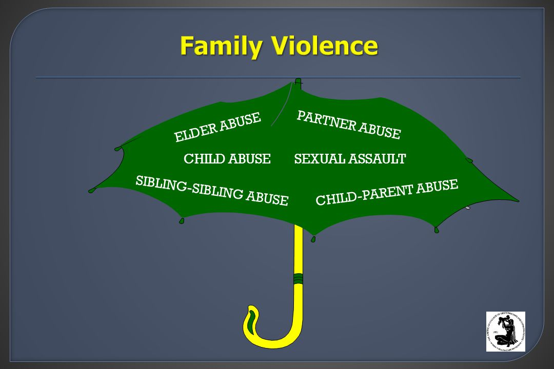 SIBLING-SIBLING ABUSE CHILD-PARENT ABUSE CHILD ABUSE PARTNER ABUSE SEXUAL ASSAULT ELDER ABUSE