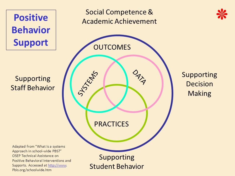 SYSTEMS PRACTICES DATA Supporting Staff Behavior Supporting Decision Making Supporting Student Behavior Positive Behavior Support OUTCOMES Social Competence & Academic Achievement ٭ Adapted from What is a systems Approach in school-wide PBS OSEP Technical Assistance on Positive Behavioral Interventions and Supports.