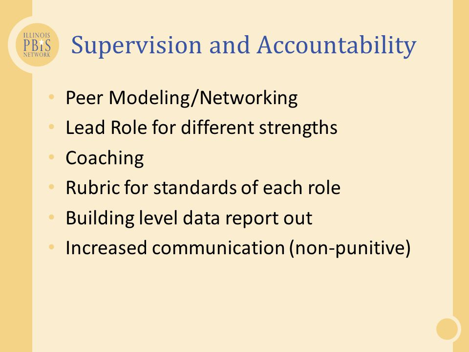Supervision and Accountability Peer Modeling/Networking Lead Role for different strengths Coaching Rubric for standards of each role Building level data report out Increased communication (non-punitive)