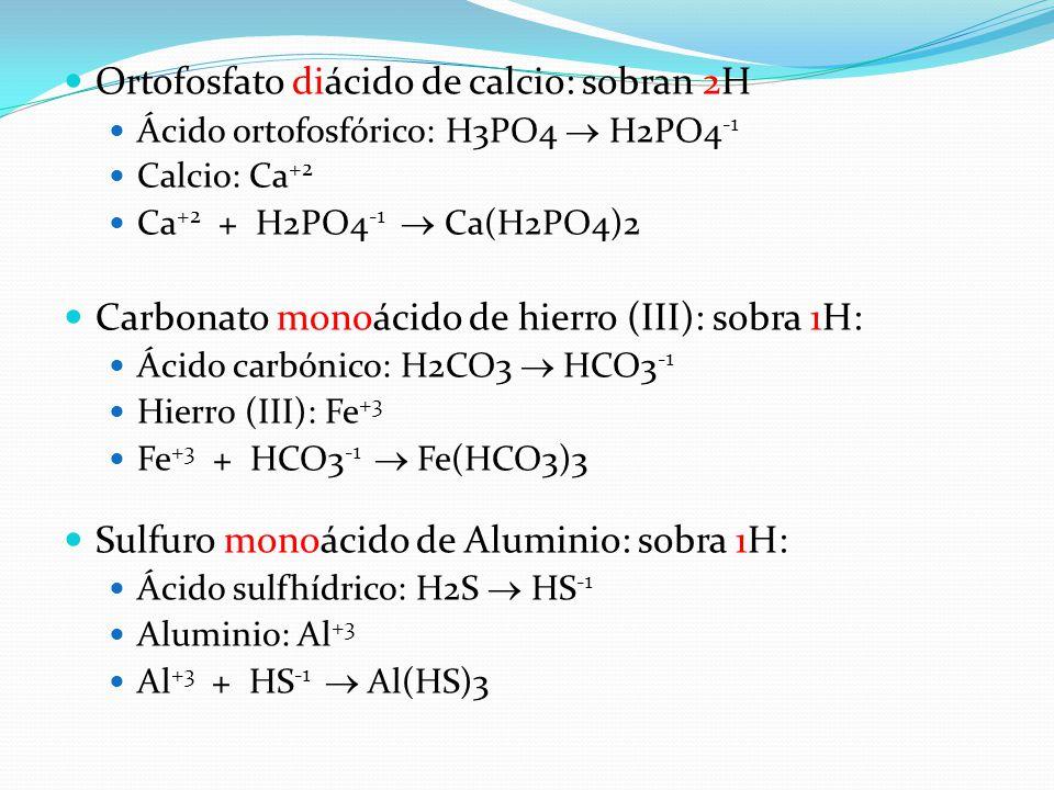 Ortofosfato diácido de calcio: sobran 2H Ácido ortofosfórico: H3PO4  H2PO4 -1 Calcio: Ca +2 Ca +2 + H2PO4 -1  Ca(H2PO4)2 Carbonato monoácido de hier