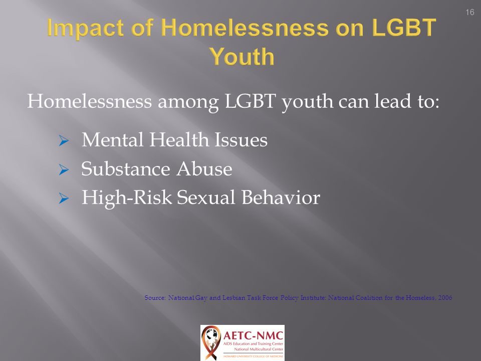 16 Homelessness among LGBT youth can lead to:  Mental Health Issues  Substance Abuse  High-Risk Sexual Behavior Source: National Gay and Lesbian Task Force Policy Institute: National Coalition for the Homeless, 2006