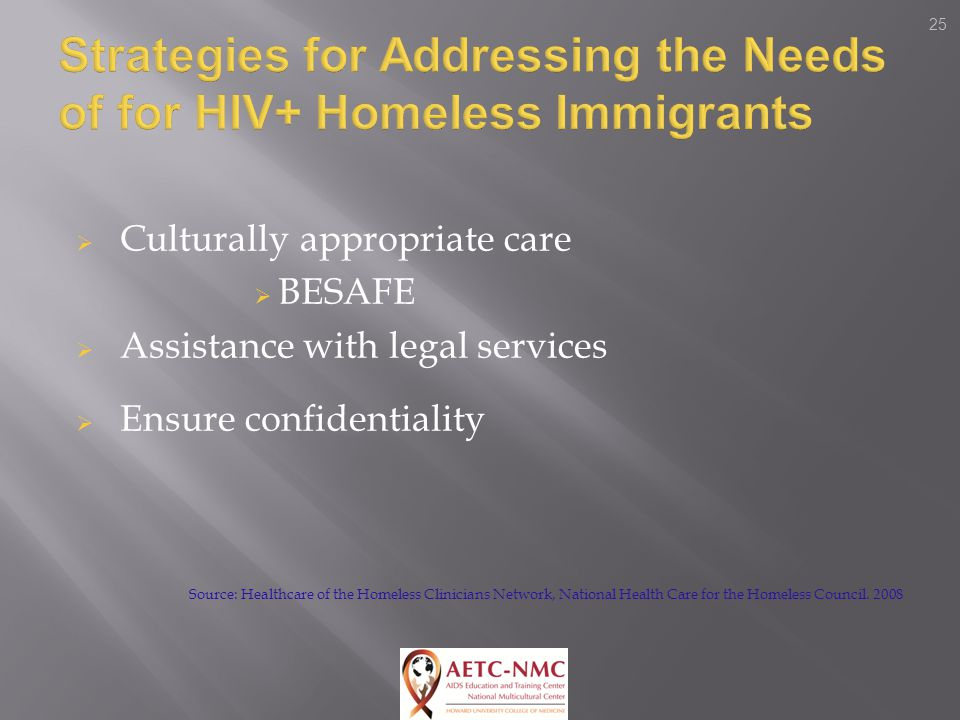 25  Culturally appropriate care  BESAFE  Assistance with legal services  Ensure confidentiality Source: Healthcare of the Homeless Clinicians Network, National Health Care for the Homeless Council.
