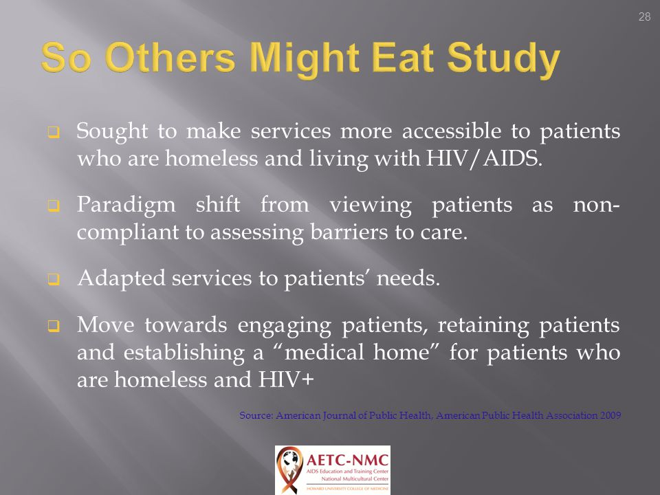 28  Sought to make services more accessible to patients who are homeless and living with HIV/AIDS.