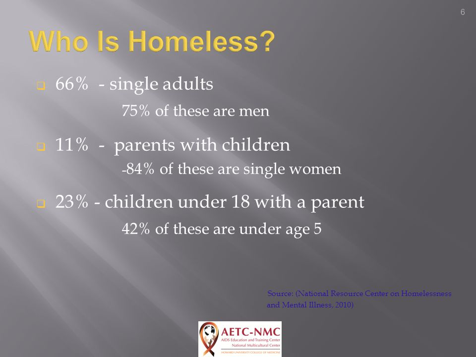 6  66% - single adults 75% of these are men  11% - parents with children - 84% of these are single women  23% - children under 18 with a parent 42% of these are under age 5 Source: (National Resource Center on Homelessness and Mental Illness, 2010)